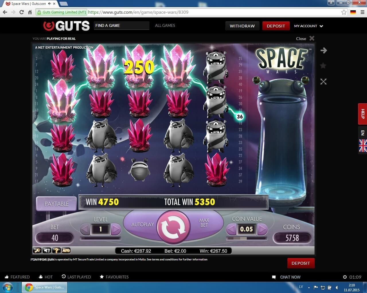 guts casino, space wars, онлайн казино, крупные выигрыши, игровой автомат
